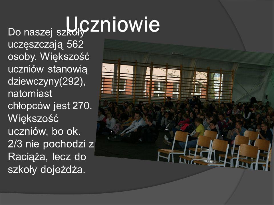 Uczniowie Do naszej szkoły uczęszczają 562 osoby. Większość uczniów stanowią dziewczyny(292), natomiast chłopców jest 270. Większość uczniów, bo ok. 2