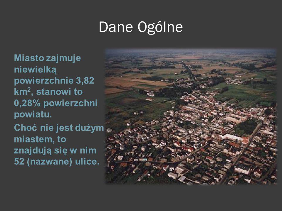 Dane Ogólne Miasto zajmuje niewielką powierzchnie 3,82 km 2, stanowi to 0,28% powierzchni powiatu. Choć nie jest dużym miastem, to znajdują się w nim