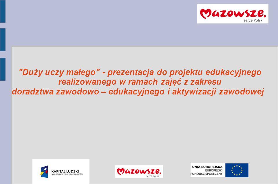 Program Operacyjny Kapitał Ludzki 2007-2013 Duży uczy małego - prezentacja do projektu edukacyjnego realizowanego w ramach zajęć z zakresu doradztwa zawodowo – edukacyjnego i aktywizacji zawodowej