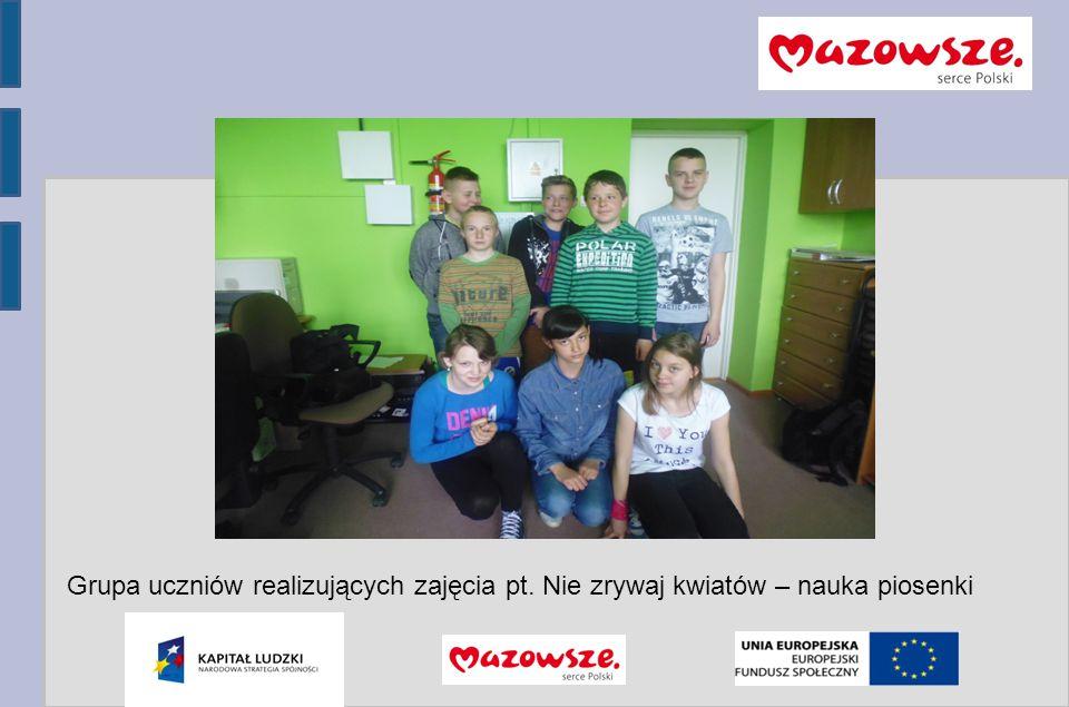 Program Operacyjny Kapitał Ludzki 2007-2013 Grupa uczniów realizujących zajęcia pt.
