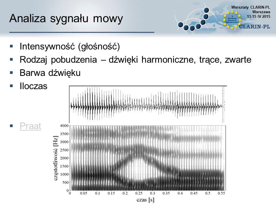 Opis sygnału mowy: spółgłoski Warsztaty CLARIN-PL Warszawa 13-15 IV 2015 CLARIN-PL