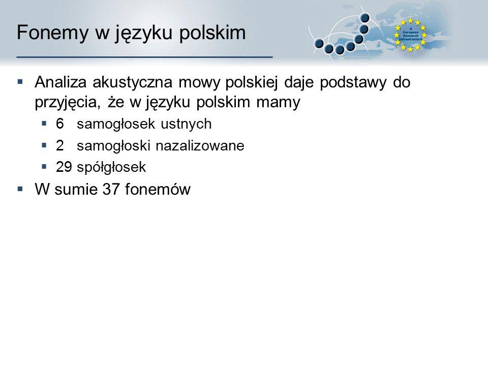 Fonemy w języku polskim  Analiza akustyczna mowy polskiej daje podstawy do przyjęcia, że w języku polskim mamy  6 samogłosek ustnych  2 samogłoski nazalizowane  29 spółgłosek  W sumie 37 fonemów