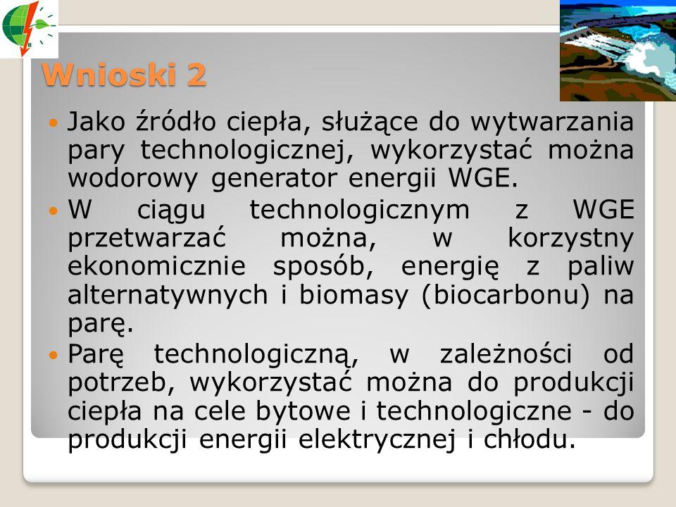 Wnioski 2 Jako źródło ciepła, służące do wytwarzania pary technologicznej, wykorzystać można wodorowy generator energii WGE. W ciągu technologicznym z