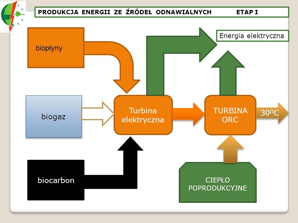 biogaz biocarbon biopłyny Turbina elektryczna TURBINA ORC 30 O C CIEPŁO POPRODUKCYJNE Energia elektryczna PRODUKCJA ENERGII ZE ŹRÓDEŁ ODNAWIALNYCH ETA