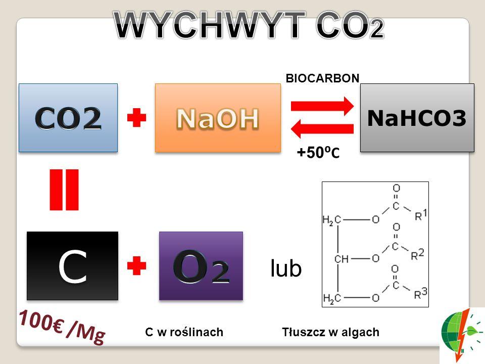 NaHCO3 C C +50 ⁰C BIOCARBON 100 € /Mg lub Tłuszcz w algachC w roślinach