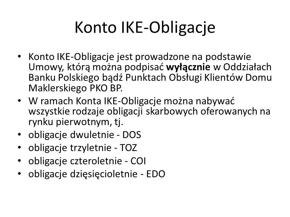 Konto IKE-Obligacje Konto IKE-Obligacje jest prowadzone na podstawie Umowy, którą można podpisać wyłącznie w Oddziałach Banku Polskiego bądź Punktach Obsługi Klientów Domu Maklerskiego PKO BP.