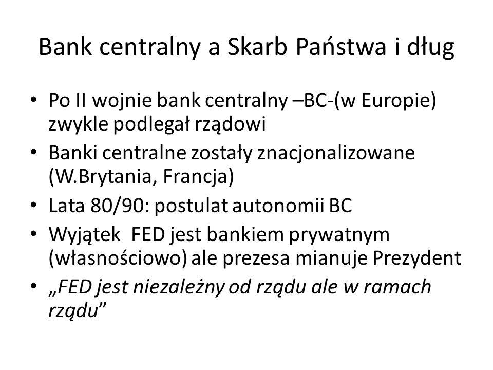 """Bank centralny a Skarb Państwa i dług Po II wojnie bank centralny –BC-(w Europie) zwykle podlegał rządowi Banki centralne zostały znacjonalizowane (W.Brytania, Francja) Lata 80/90: postulat autonomii BC Wyjątek FED jest bankiem prywatnym (własnościowo) ale prezesa mianuje Prezydent """"FED jest niezależny od rządu ale w ramach rządu"""