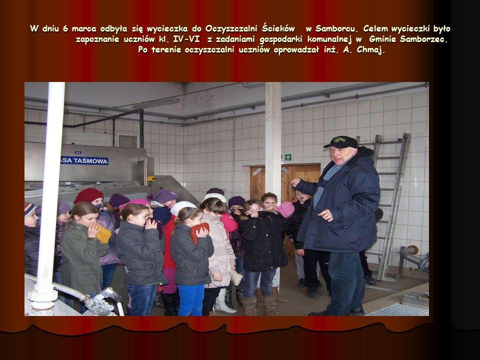 W dniu 6 marca odbyła się wycieczka do Oczyszczalni Ścieków w Samborcu. Celem wycieczki było zapoznanie uczniów kl. IV-VI z zadaniami gospodarki komun