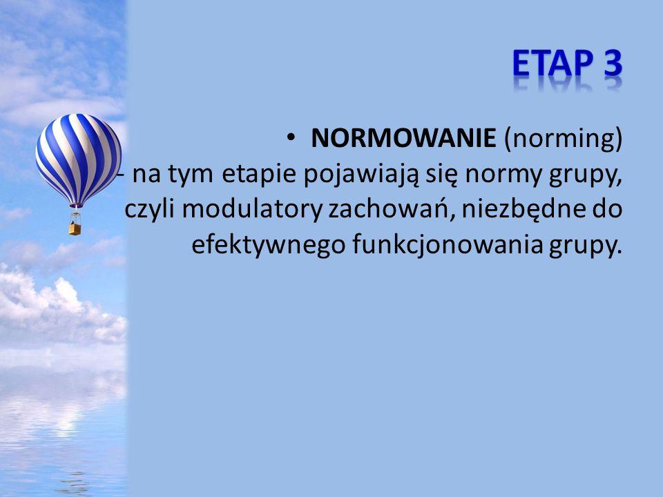 NORMOWANIE (norming) - na tym etapie pojawiają się normy grupy, czyli modulatory zachowań, niezbędne do efektywnego funkcjonowania grupy.