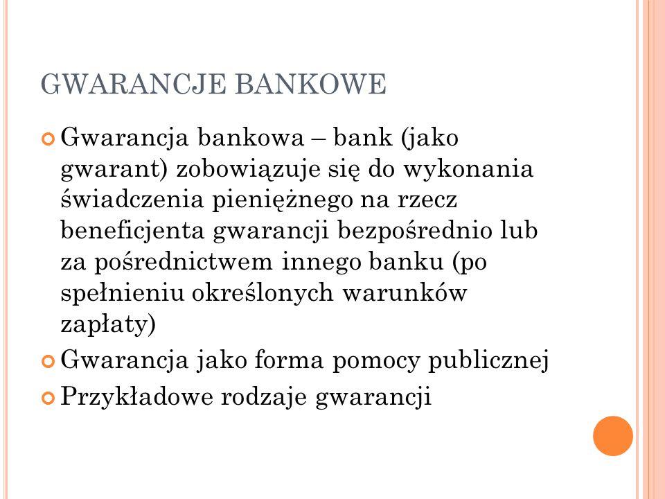 GWARANCJE BANKOWE Gwarancja bankowa – bank (jako gwarant) zobowiązuje się do wykonania świadczenia pieniężnego na rzecz beneficjenta gwarancji bezpośrednio lub za pośrednictwem innego banku (po spełnieniu określonych warunków zapłaty) Gwarancja jako forma pomocy publicznej Przykładowe rodzaje gwarancji