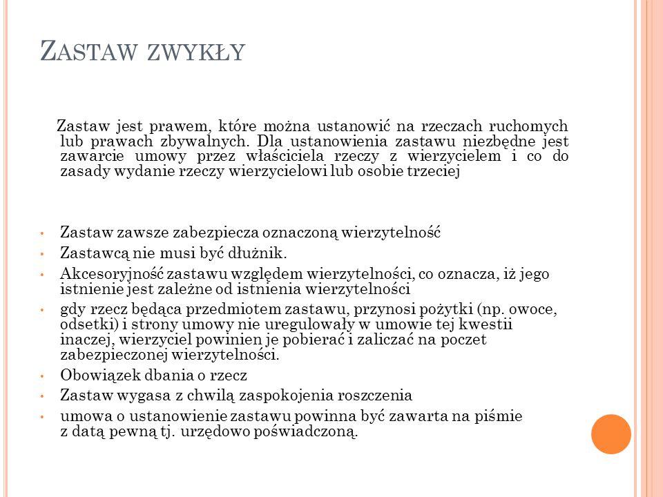 Z ASTAW NA PRAWACH zastaw taki może być ustanowiony na: wkładach na imiennych książeczkach oszczędnościowych: - płatnych na każde żądanie - terminowych udziałach w spółce z ograniczoną odpowiedzialnością prawach w zakresie wynalazczości (patenty, umowy licencyjne) papierach wartościowych, takich jak: - akcje - obligacje - weksle