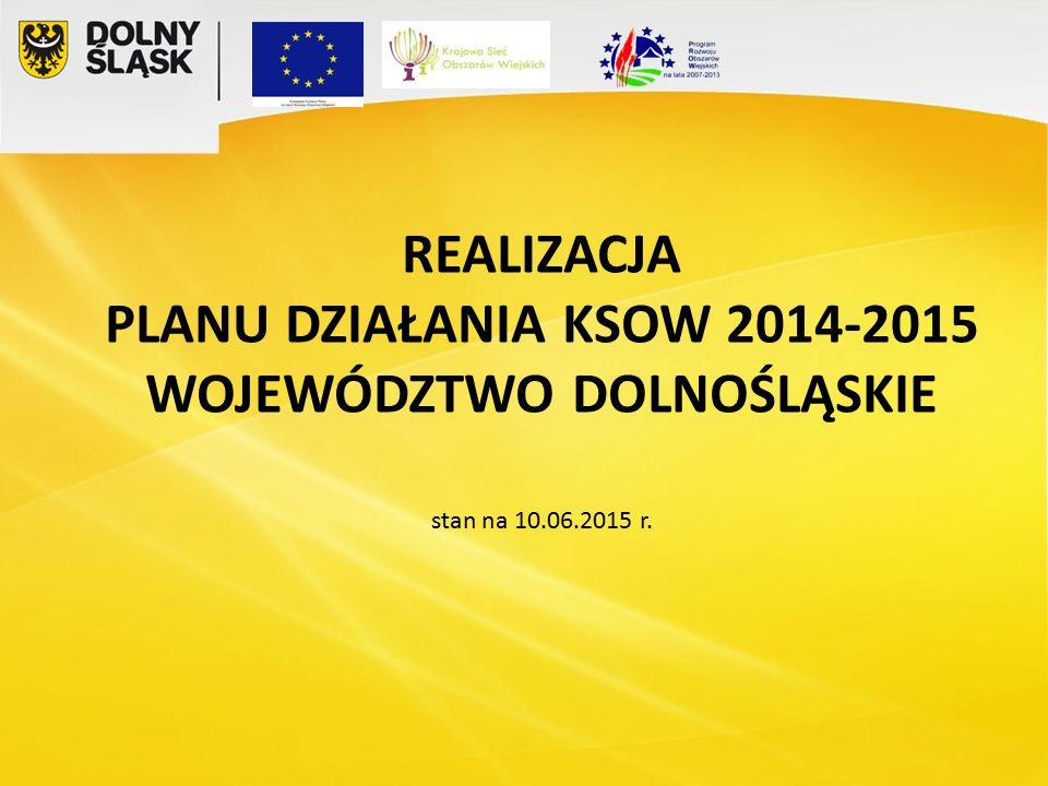 REALIZACJA PLANU DZIAŁANIA KSOW 2014-2015 WOJEWÓDZTWO DOLNOŚLĄSKIE stan na 10.06.2015 r.