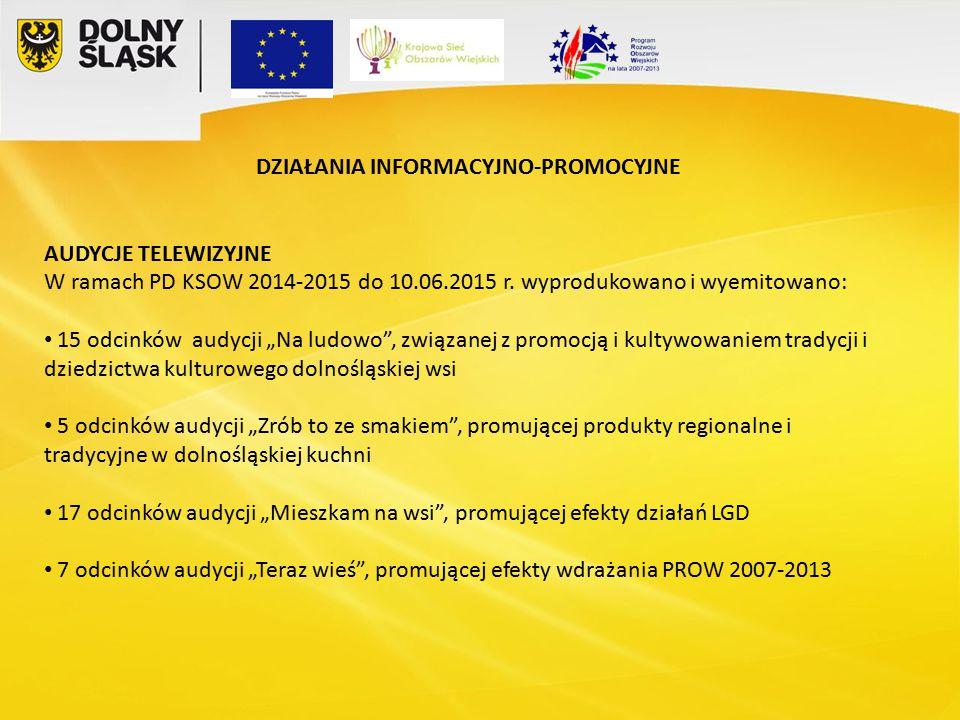 DZIAŁANIA INFORMACYJNO-PROMOCYJNE AUDYCJE TELEWIZYJNE W ramach PD KSOW 2014-2015 do 10.06.2015 r.