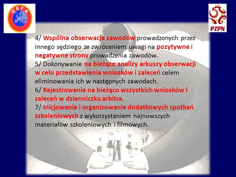 4/ Wspólna obserwacja zawodów prowadzonych przez innego sędziego ze zwróceniem uwagi na pozytywne i negatywne strony prowadzenia zawodów. 5/ Dokonywan