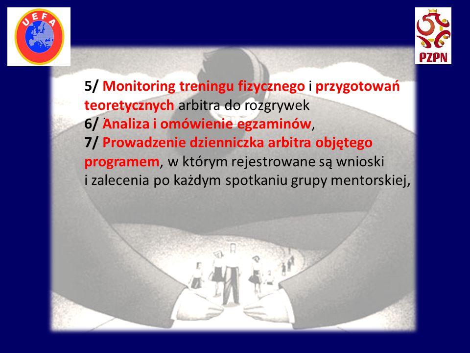 . 5/ Monitoring treningu fizycznego i przygotowań teoretycznych arbitra do rozgrywek 6/ Analiza i omówienie egzaminów, 7/ Prowadzenie dzienniczka arbi
