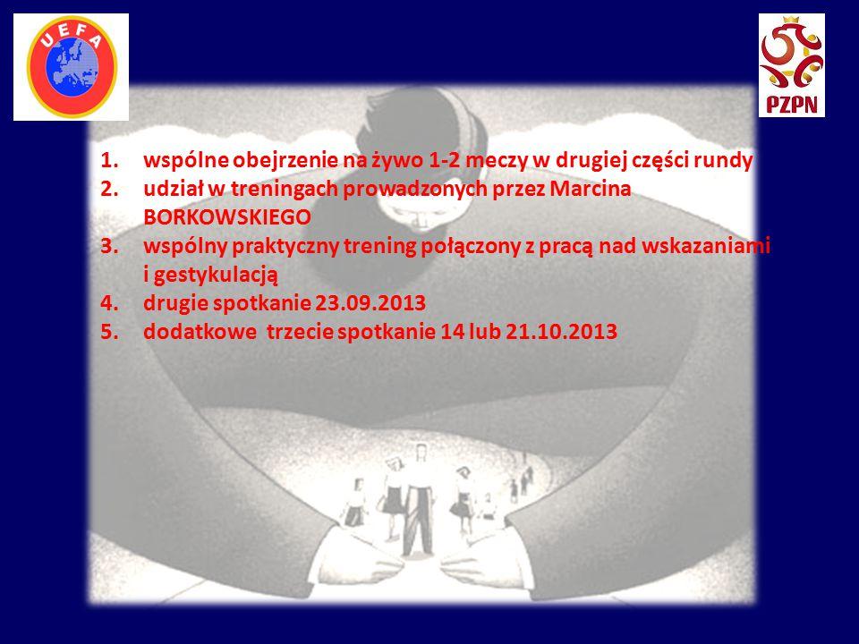 . 1.wspólne obejrzenie na żywo 1-2 meczy w drugiej części rundy 2.udział w treningach prowadzonych przez Marcina BORKOWSKIEGO 3.wspólny praktyczny tre