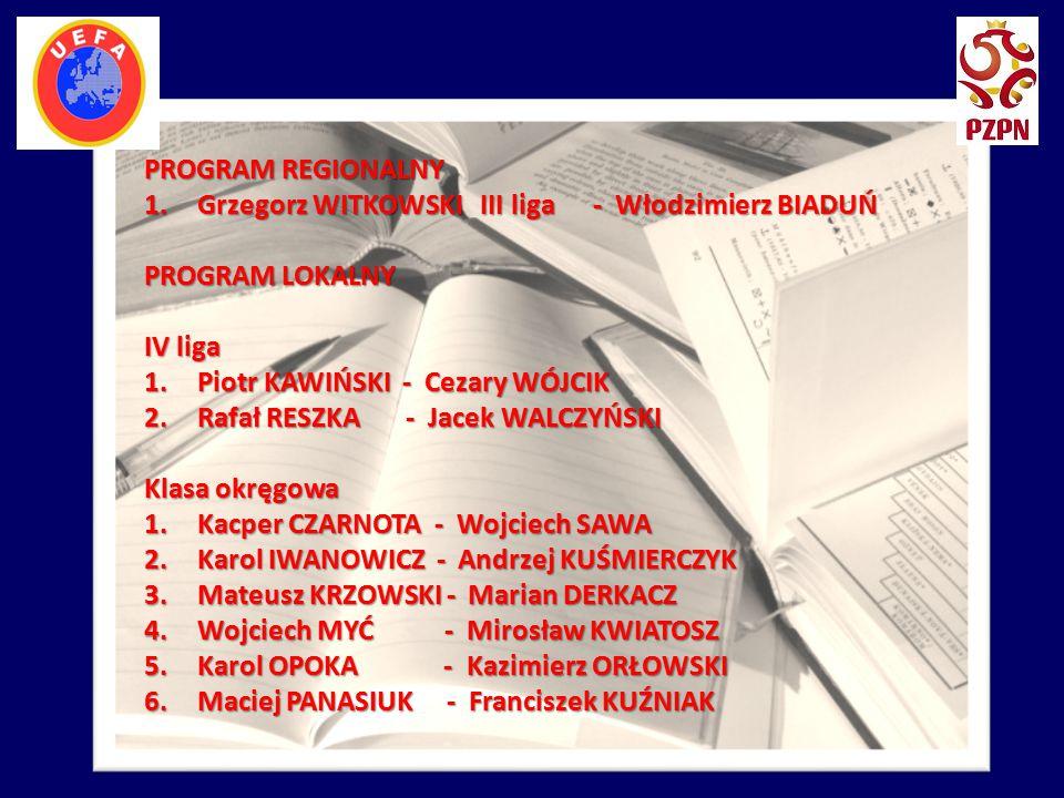 PROGRAM REGIONALNY 1.Grzegorz WITKOWSKI III liga - Włodzimierz BIADUŃ PROGRAM LOKALNY IV liga 1.Piotr KAWIŃSKI - Cezary WÓJCIK 2.Rafał RESZKA - Jacek