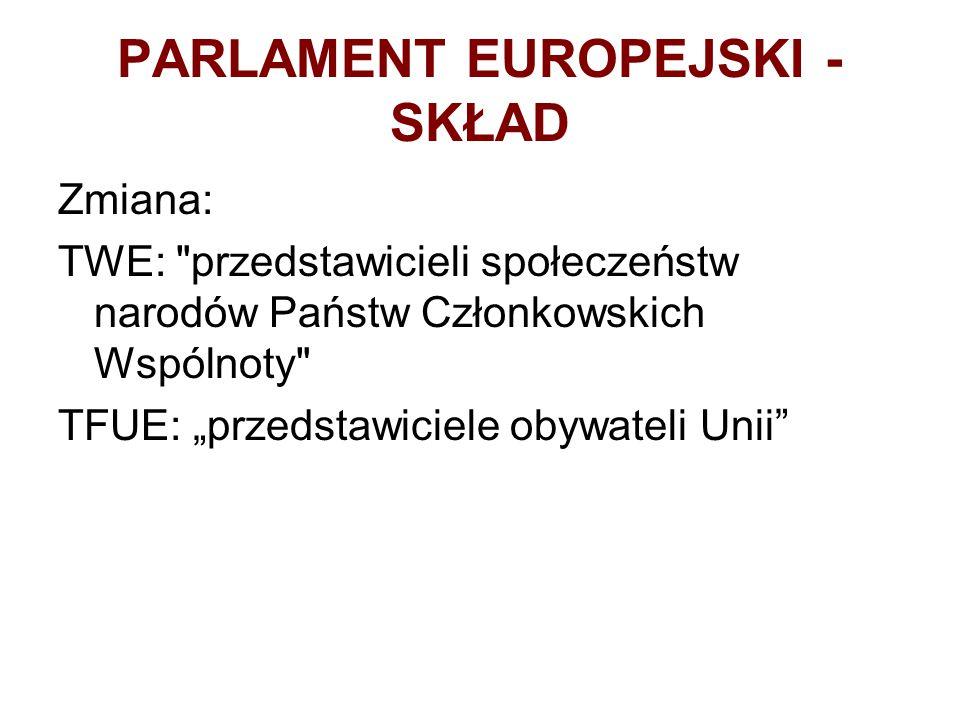"""PARLAMENT EUROPEJSKI - SKŁAD Zmiana: TWE: przedstawicieli społeczeństw narodów Państw Członkowskich Wspólnoty TFUE: """"przedstawiciele obywateli Unii"""