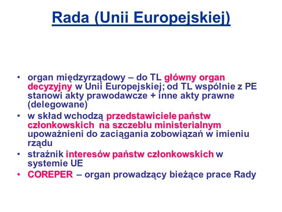 Rada (Unii Europejskiej) główny organ decyzyjnyorgan międzyrządowy – do TL główny organ decyzyjny w Unii Europejskiej; od TL wspólnie z PE stanowi akty prawodawcze + inne akty prawne (delegowane) przedstawiciele państw członkowskich na szczeblu ministerialnymw skład wchodzą przedstawiciele państw członkowskich na szczeblu ministerialnym upoważnieni do zaciągania zobowiązań w imieniu rządu interesów państw członkowskichstrażnik interesów państw członkowskich w systemie UE COREPERCOREPER – organ prowadzący bieżące prace Rady