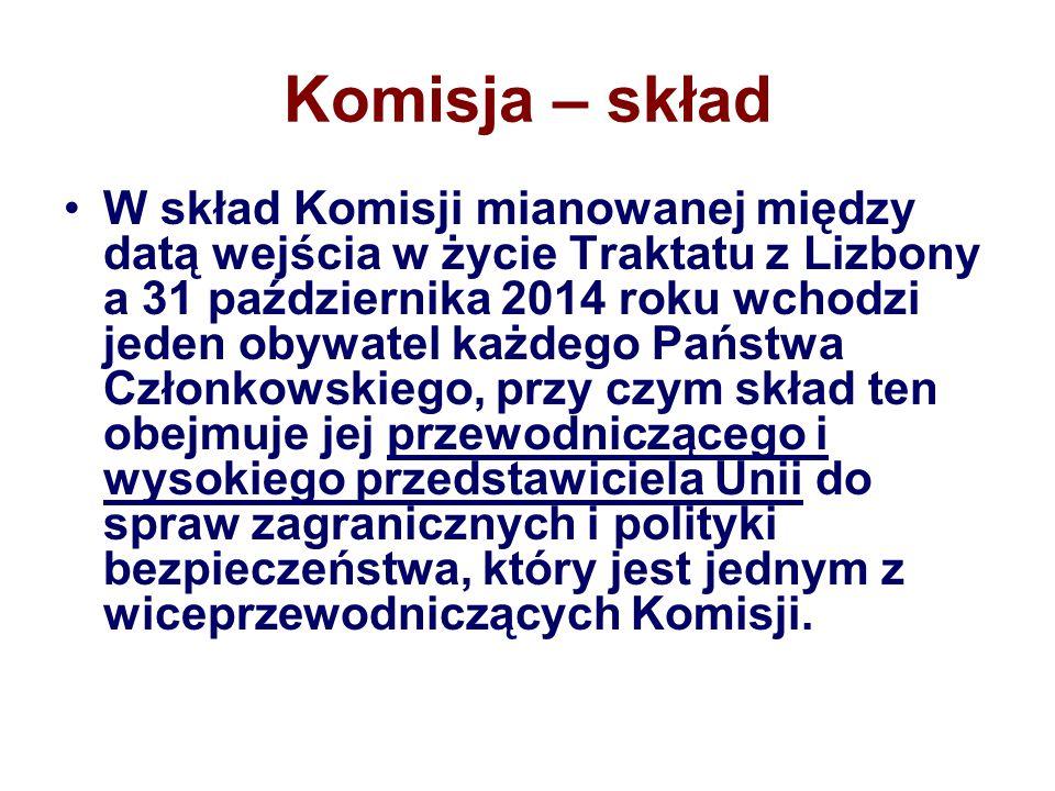 Komisja – skład W skład Komisji mianowanej między datą wejścia w życie Traktatu z Lizbony a 31 października 2014 roku wchodzi jeden obywatel każdego P