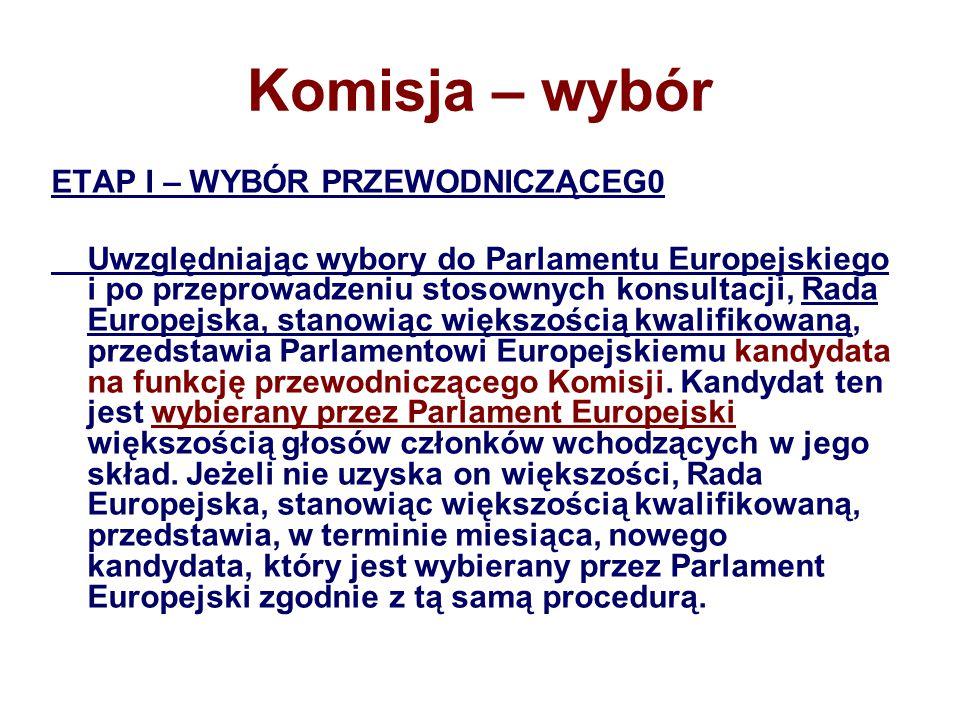 Komisja – wybór ETAP I – WYBÓR PRZEWODNICZĄCEG0 Uwzględniając wybory do Parlamentu Europejskiego i po przeprowadzeniu stosownych konsultacji, Rada Europejska, stanowiąc większością kwalifikowaną, przedstawia Parlamentowi Europejskiemu kandydata na funkcję przewodniczącego Komisji.