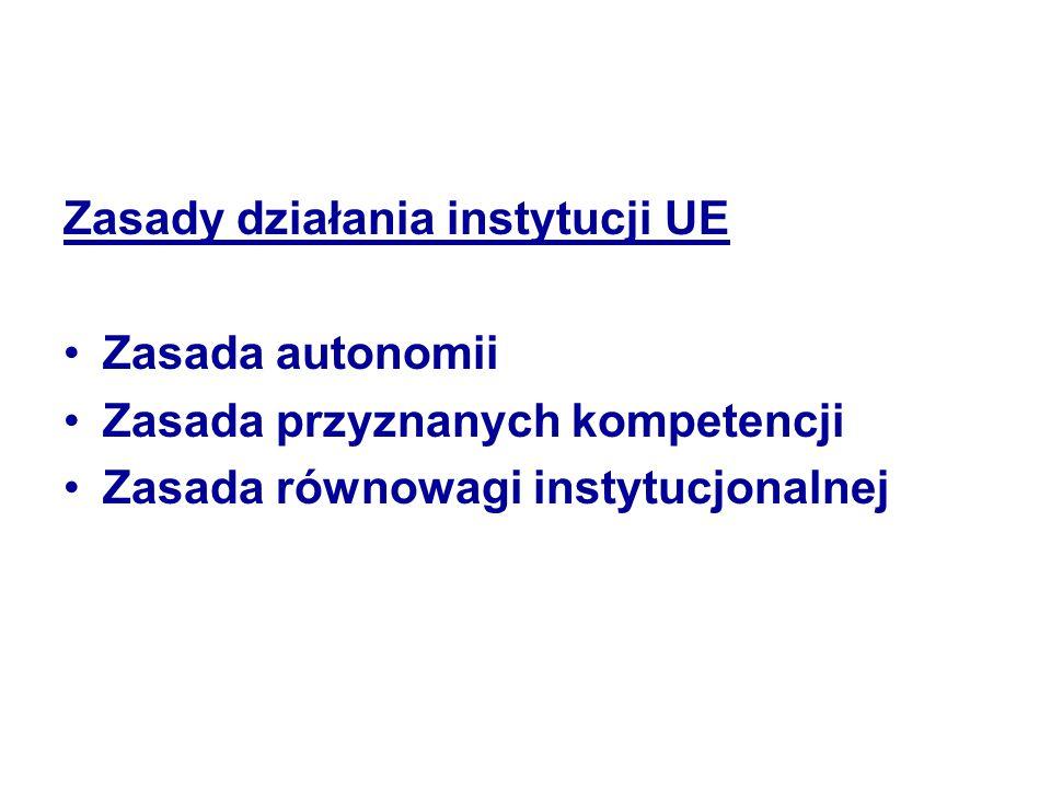 Zasady działania instytucji UE Zasada autonomii Zasada przyznanych kompetencji Zasada równowagi instytucjonalnej