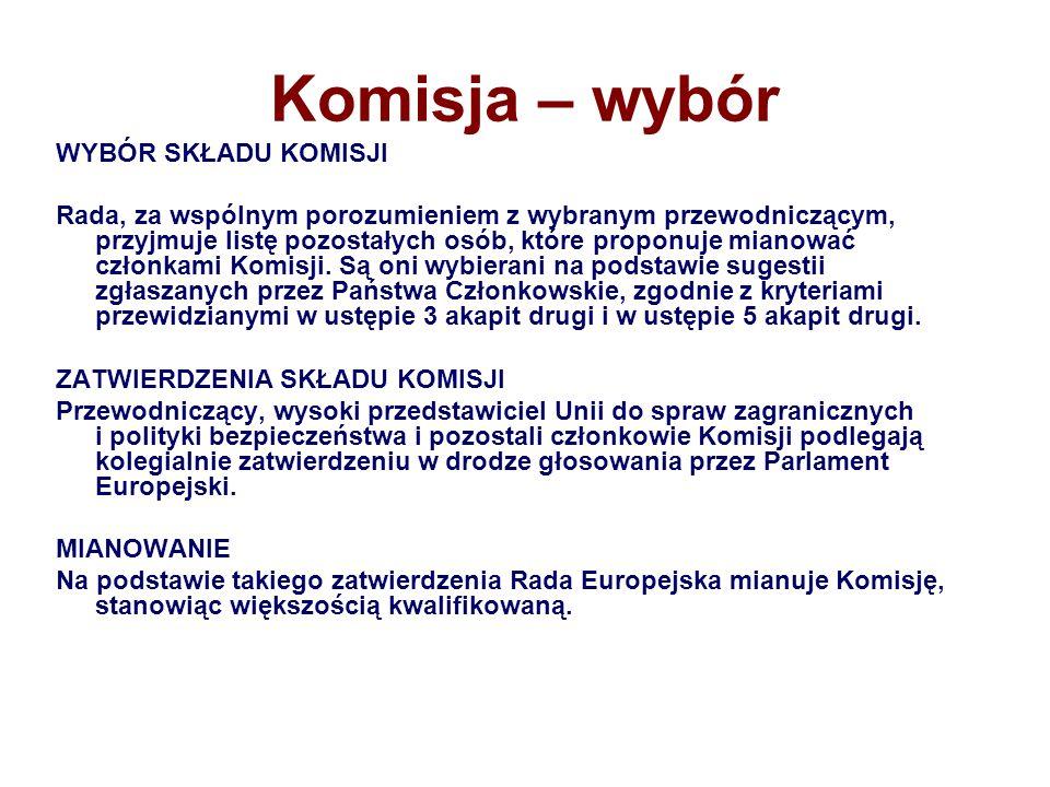 Komisja – wybór WYBÓR SKŁADU KOMISJI Rada, za wspólnym porozumieniem z wybranym przewodniczącym, przyjmuje listę pozostałych osób, które proponuje mia