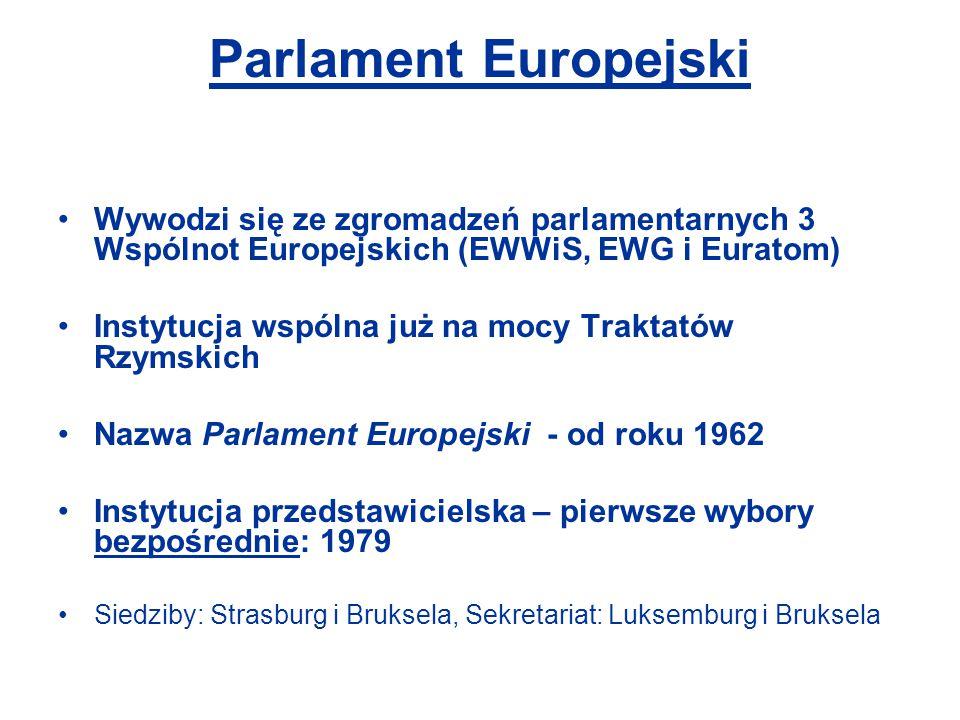 Parlament Europejski Wywodzi się ze zgromadzeń parlamentarnych 3 Wspólnot Europejskich (EWWiS, EWG i Euratom) Instytucja wspólna już na mocy Traktatów