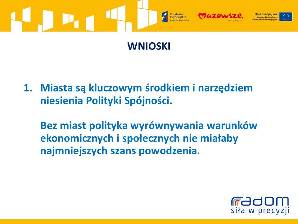 WNIOSKI 1.Miasta są kluczowym środkiem i narzędziem niesienia Polityki Spójności.