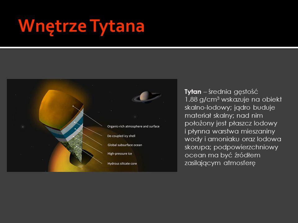 Tytan – średnia gęstość 1.88 g/cm 3 wskazuje na obiekt skalno-lodowy; jądro buduje materiał skalny; nad nim położony jest płaszcz lodowy i płynna wars