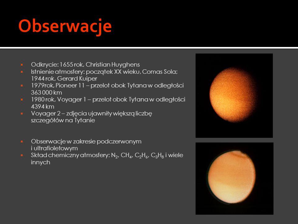  Promień równikowy: 2575 ± 0.5 km  Średnia gęstość: 1.88 x 10 3 km m -3  Odległość od Saturna: 1.23 x 10 6 km  Masa: 1.346 x 10 23 kg  Grawitacja na powierzchni: 1.353 m s -2  Okres orbitalny: 15.95 dni  Obrót wokół osi: 15.95 dni  Mimośród orbity: 0.0292  Temperatura powierzchniowa: 93.65 ± 0.5 K  Ciśnienie powierzchniowe: 1.467 ± 0.0001 bara  Główne składniki atmosfery: N 2, CH 4, H 2, CO