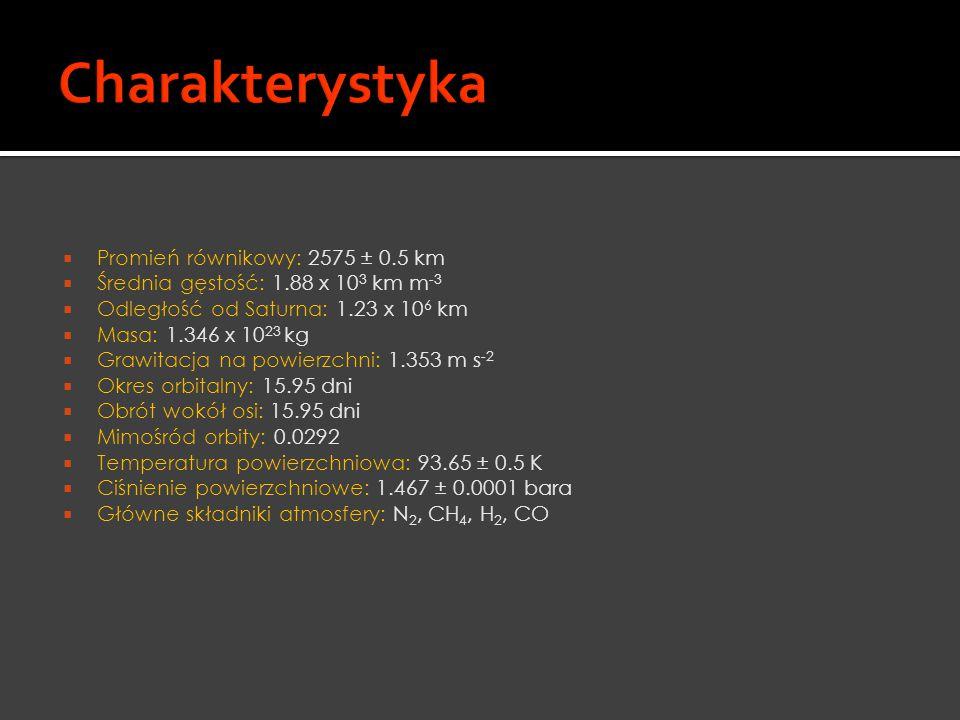  Promień równikowy: 2575 ± 0.5 km  Średnia gęstość: 1.88 x 10 3 km m -3  Odległość od Saturna: 1.23 x 10 6 km  Masa: 1.346 x 10 23 kg  Grawitacja