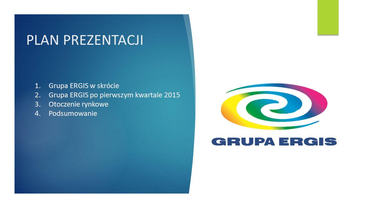 PLAN PREZENTACJI 1.Grupa ERGIS w skrócie 2.Grupa ERGIS po pierwszym kwartale 2015 3.Otoczenie rynkowe 4.Podsumowanie