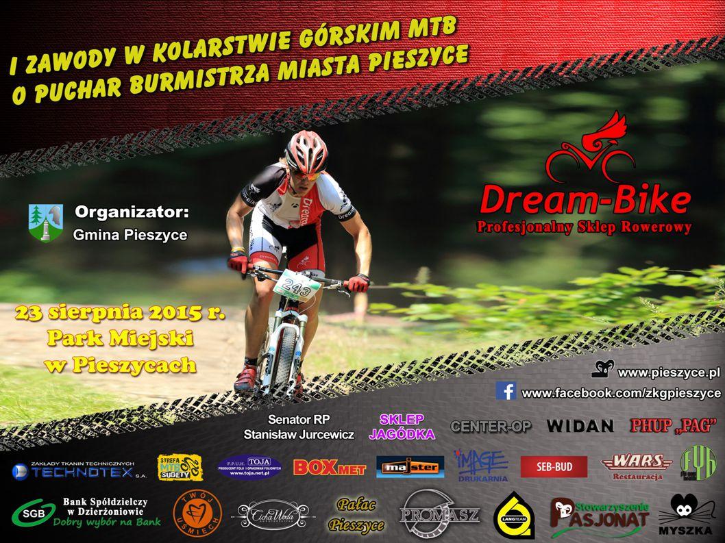Zawody w Kolarstwie Górskim o Puchar Burmistrza Miasta Pieszyce 23 sierpień 2015 Park Miejski, Pieszyce Start: 11:00