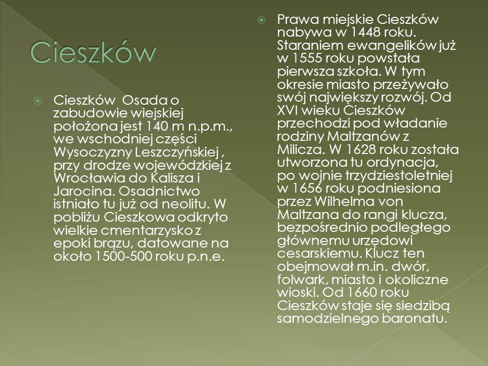  Cieszków Osada o zabudowie wiejskiej położona jest 140 m n.p.m., we wschodniej części Wysoczyzny Leszczyńskiej, przy drodze wojewódzkiej z Wrocławia