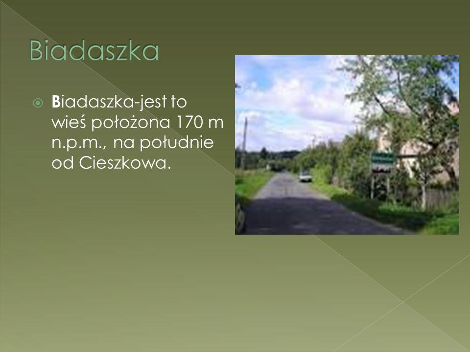 B iadaszka-jest to wieś położona 170 m n.p.m., na południe od Cieszkowa.