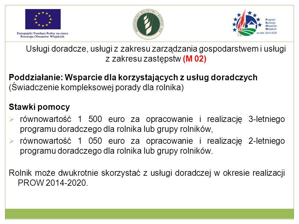 Poddziałanie: Wsparcie dla korzystających z usług doradczych (Świadczenie kompleksowej porady dla rolnika) Stawki pomocy  równowartość 1 500 euro za