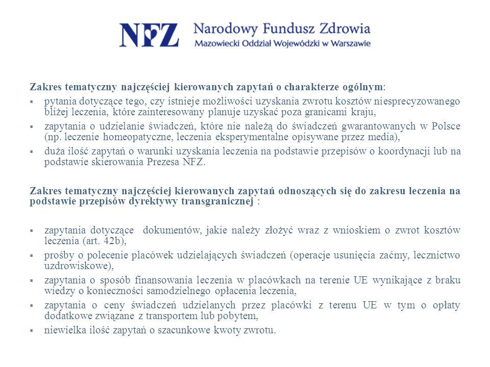 Zakres tematyczny najczęściej kierowanych zapytań o charakterze ogólnym:  pytania dotyczące tego, czy istnieje możliwości uzyskania zwrotu kosztów niesprecyzowanego bliżej leczenia, które zainteresowany planuje uzyskać poza granicami kraju,  zapytania o udzielanie świadczeń, które nie należą do świadczeń gwarantowanych w Polsce (np.
