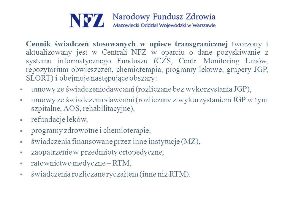 Cennik świadczeń stosowanych w opiece transgranicznej tworzony i aktualizowany jest w Centrali NFZ w oparciu o dane pozyskiwanie z systemu informatycznego Funduszu (CZS, Centr.