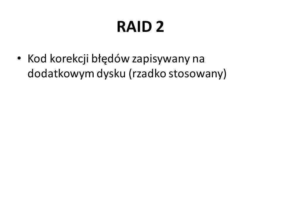 RAID 2 Kod korekcji błędów zapisywany na dodatkowym dysku (rzadko stosowany)