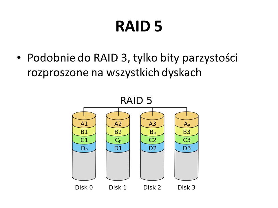 RAID 5 Podobnie do RAID 3, tylko bity parzystości rozproszone na wszystkich dyskach