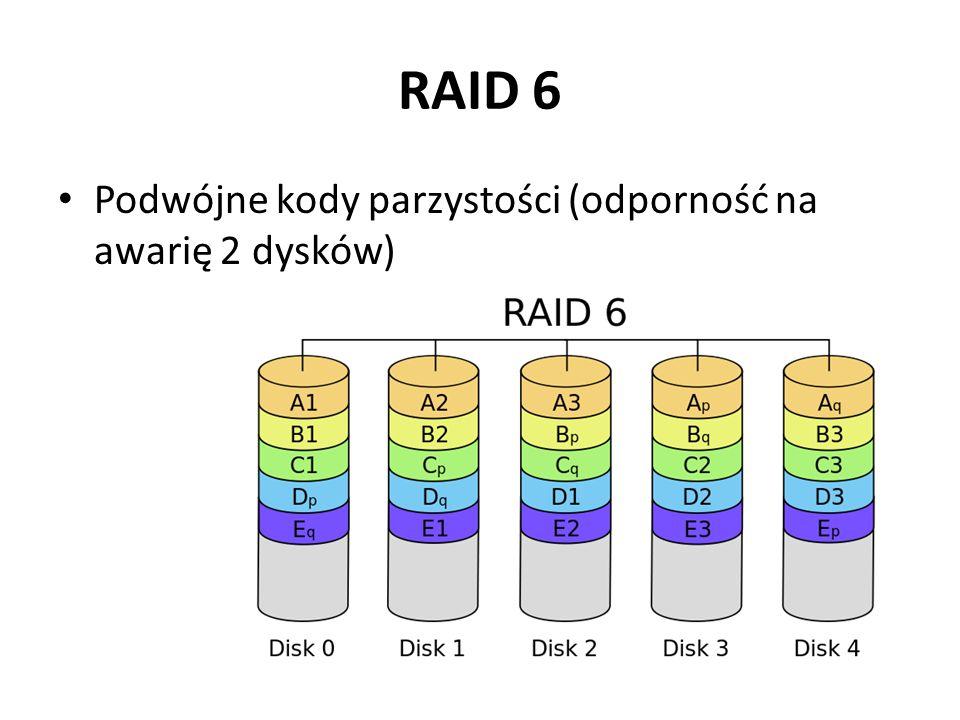 RAID 6 Podwójne kody parzystości (odporność na awarię 2 dysków)