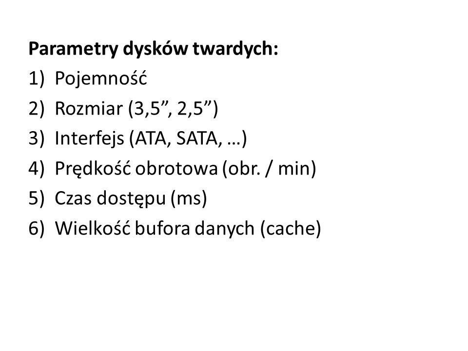 """Parametry dysków twardych: 1)Pojemność 2)Rozmiar (3,5"""", 2,5"""") 3)Interfejs (ATA, SATA, …) 4)Prędkość obrotowa (obr. / min) 5)Czas dostępu (ms) 6)Wielko"""