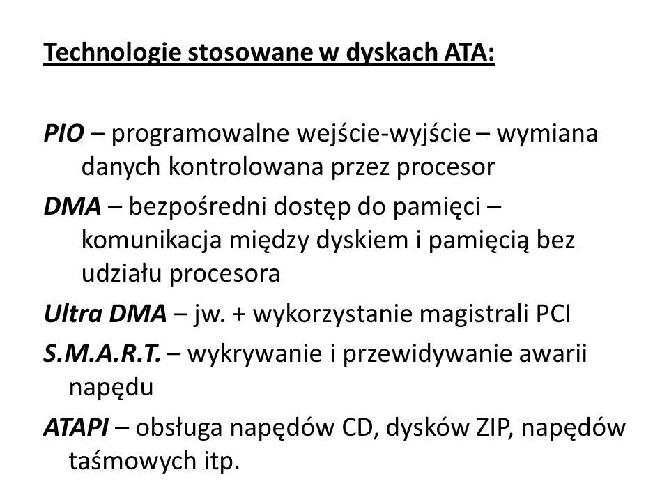 Technologie stosowane w dyskach ATA: PIO – programowalne wejście-wyjście – wymiana danych kontrolowana przez procesor DMA – bezpośredni dostęp do pami
