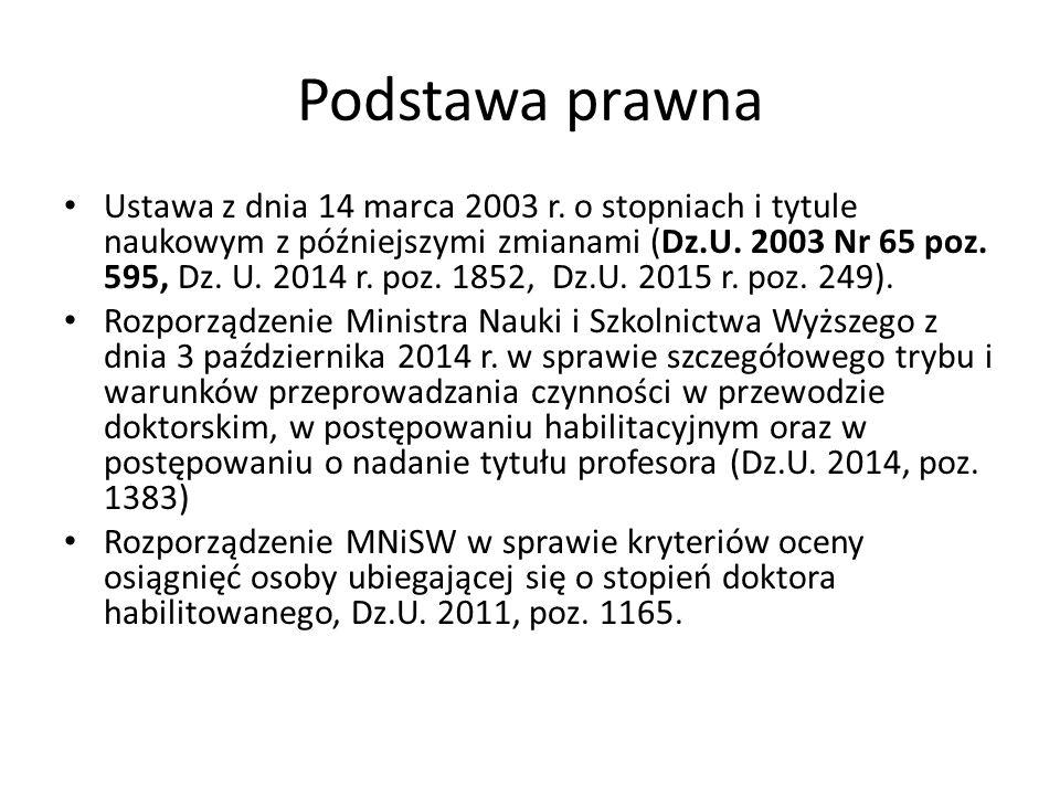 Podstawa prawna Ustawa z dnia 14 marca 2003 r.