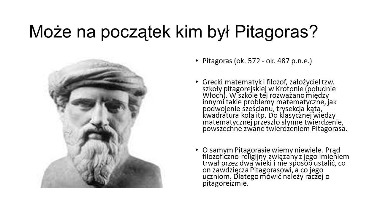 Twierdzenie Pitagorasa Założenie: trójkąt jest prostokątny Teza: suma pól kwadratów zbudowanych na przyprostokątnych jest równa polu kwadratu zbudowanego na przeciwprostokątnej