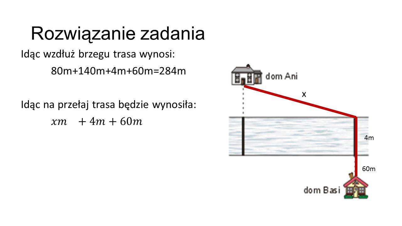 Rozwiązanie zadania x 4m 60m