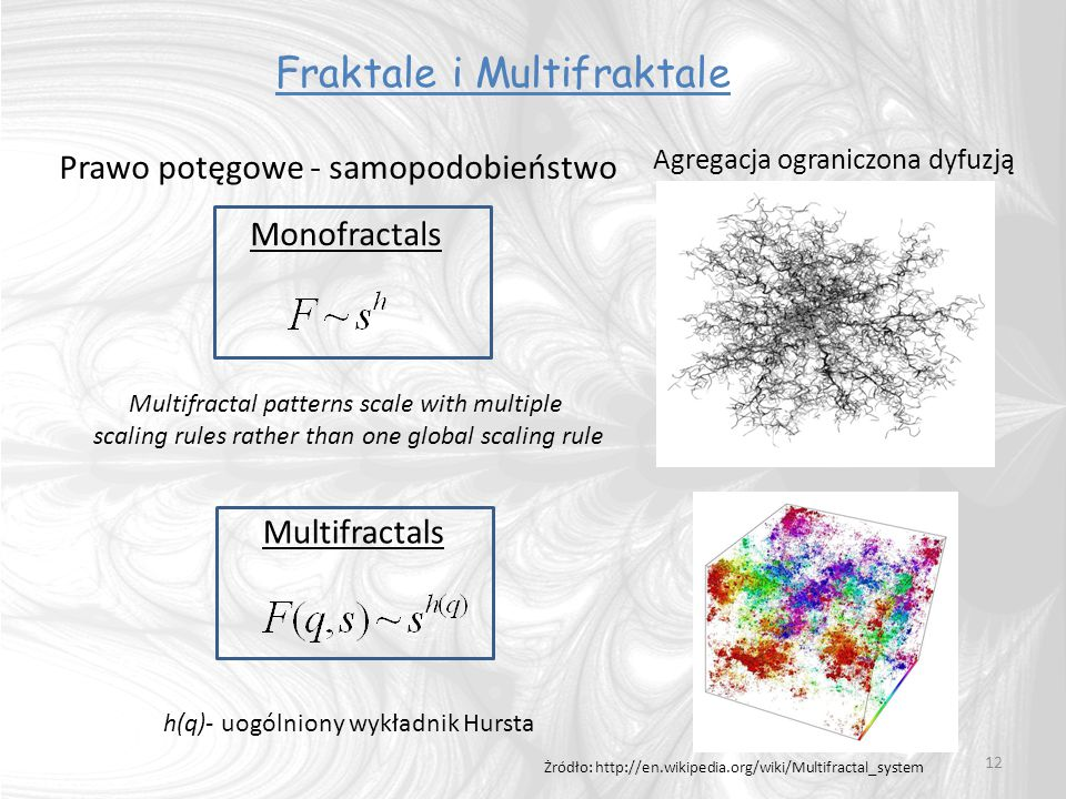 12 Multifractal patterns scale with multiple scaling rules rather than one global scaling rule Fraktale i Multifraktale Agregacja ograniczona dyfuzją