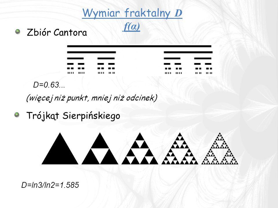 Zbiór Cantora (więcej niż punkt, mniej niż odcinek) Wymiar fraktalny D f(α) D=0.63...