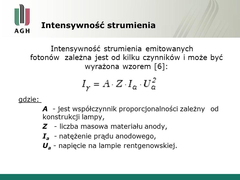 Intensywność strumienia Intensywność strumienia emitowanych fotonów zależna jest od kilku czynników i może być wyrażona wzorem [6]: gdzie: A - jest ws